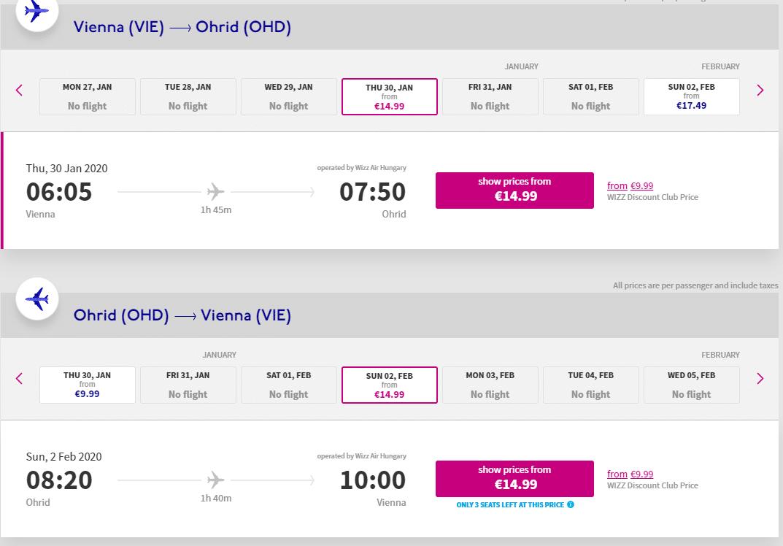 letenky z Viedne do Ohridu