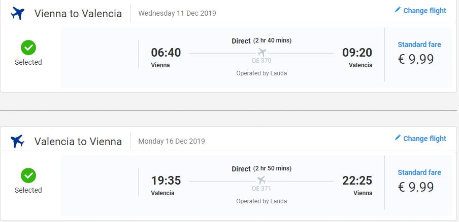 letenky z Viedne do Valencie