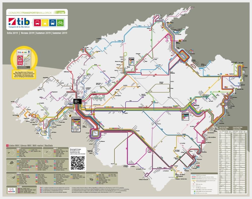 mapa verejnej dopravy Malorka