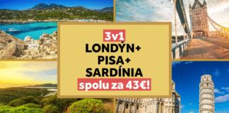 Londýn + Pisa + Sardínia spolu za 43€ - letenky