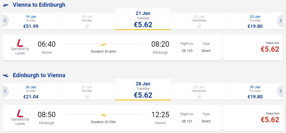 letenky z Viedne do Edinburgh