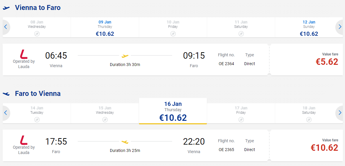 letenky z Viedne do mesta Faro