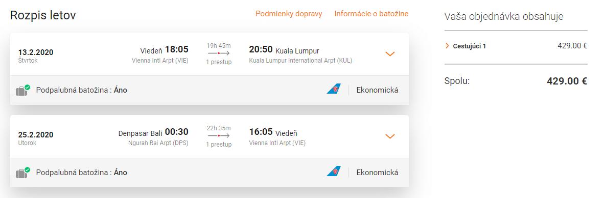 letenky z Viedne do Kuala lumpur a návrat z Bali
