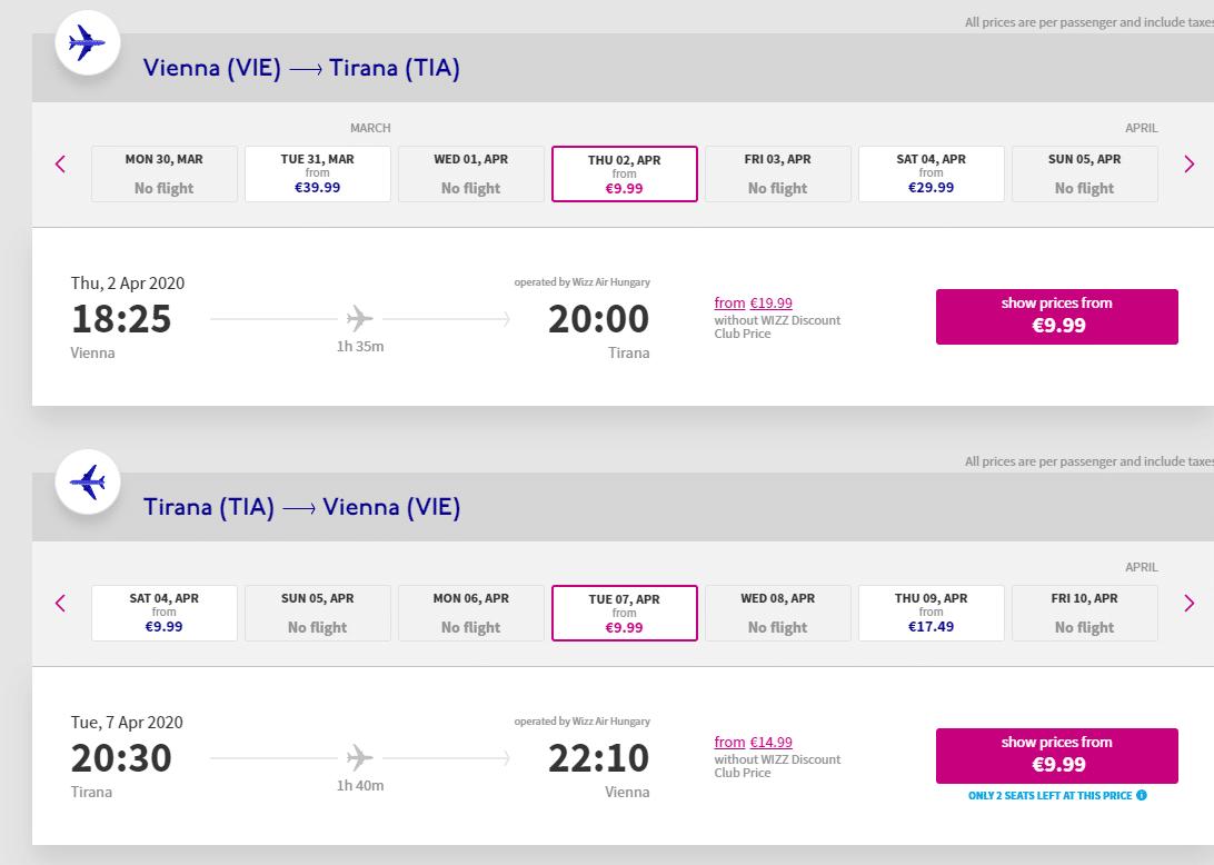 letenky z Viedne do Tirany