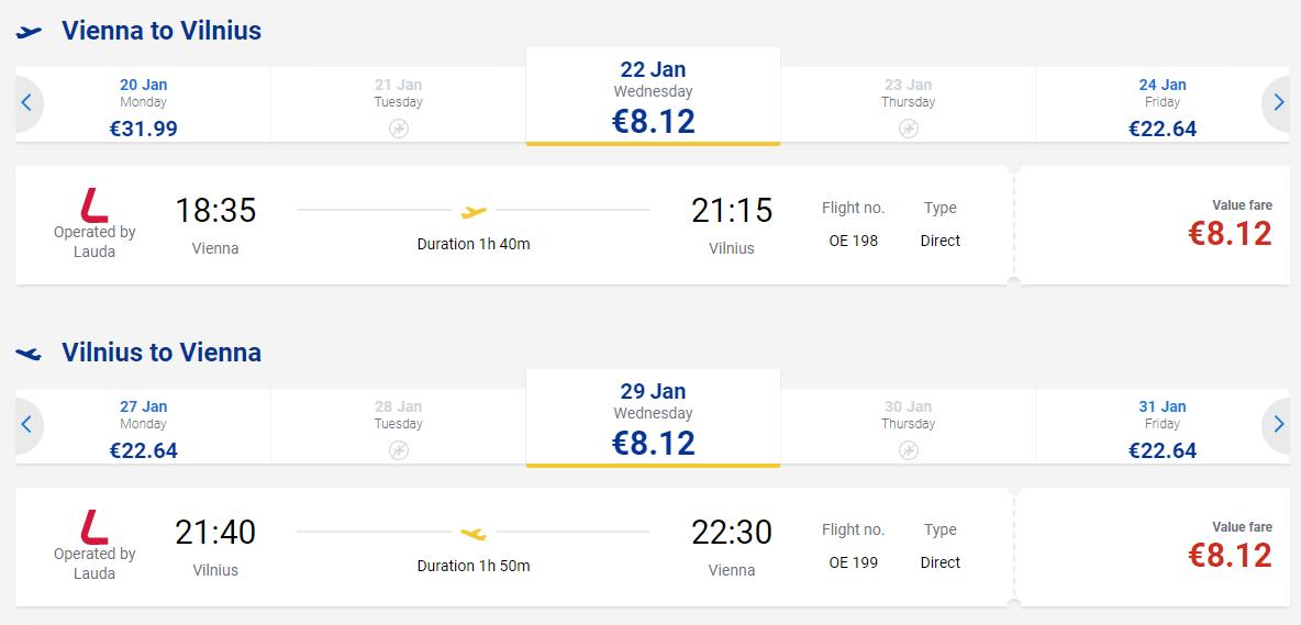 letenky z Viedne do Vilniusu
