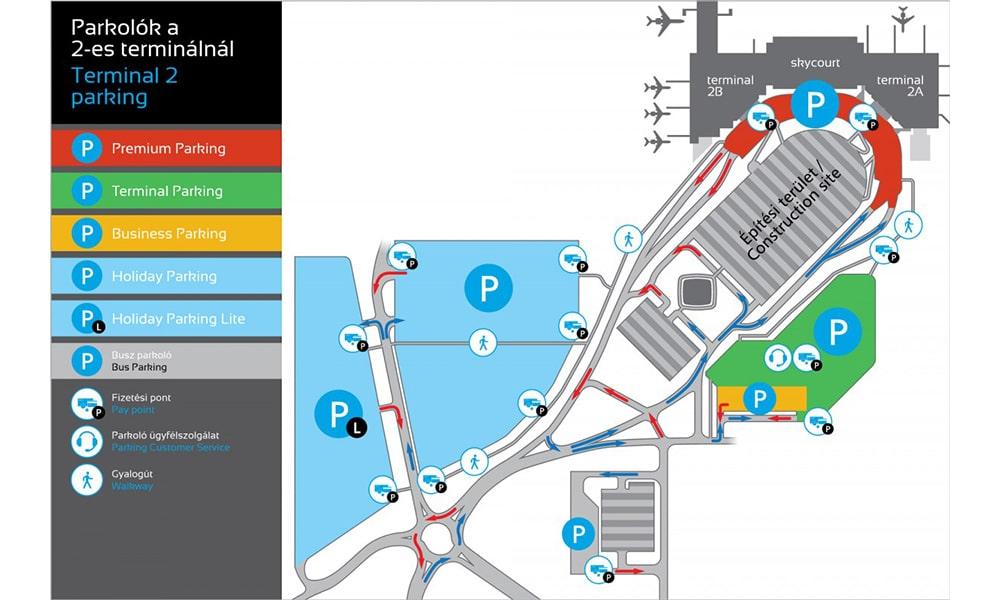 Mapa parkovania na letisku v Budapešti