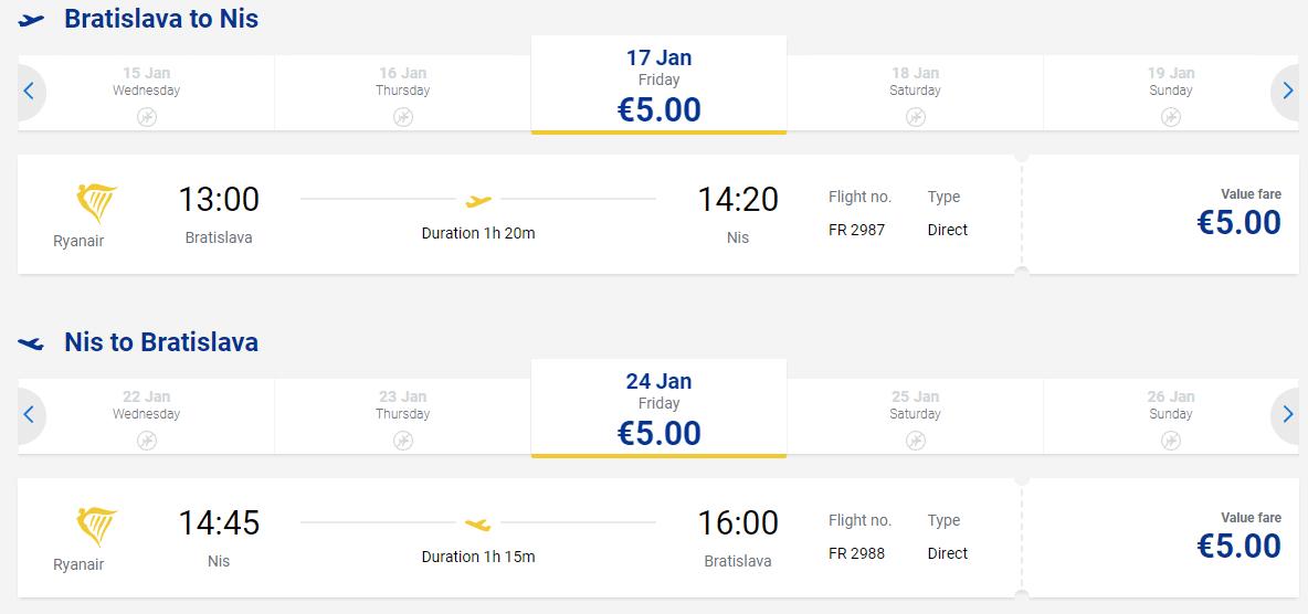 letenky z Bratislavy do mesta Niš