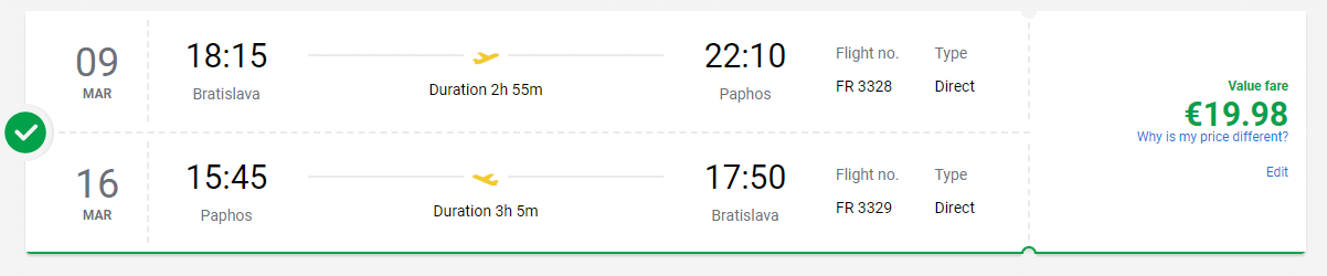 letenky z Bratislavy do Paphosu