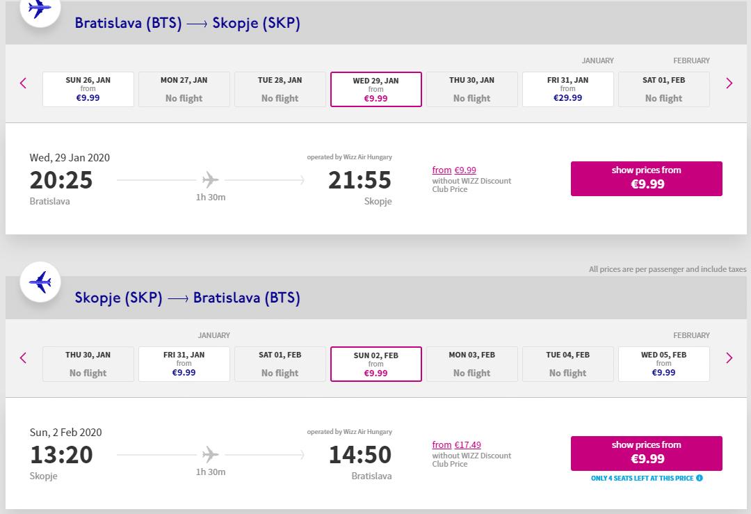 letenky z Bratislavy do Skopje
