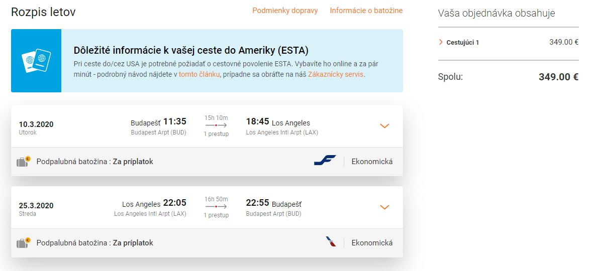 letenky z Budapešti do Los Angeles