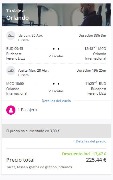 letenky z Budapešti do Orlanda