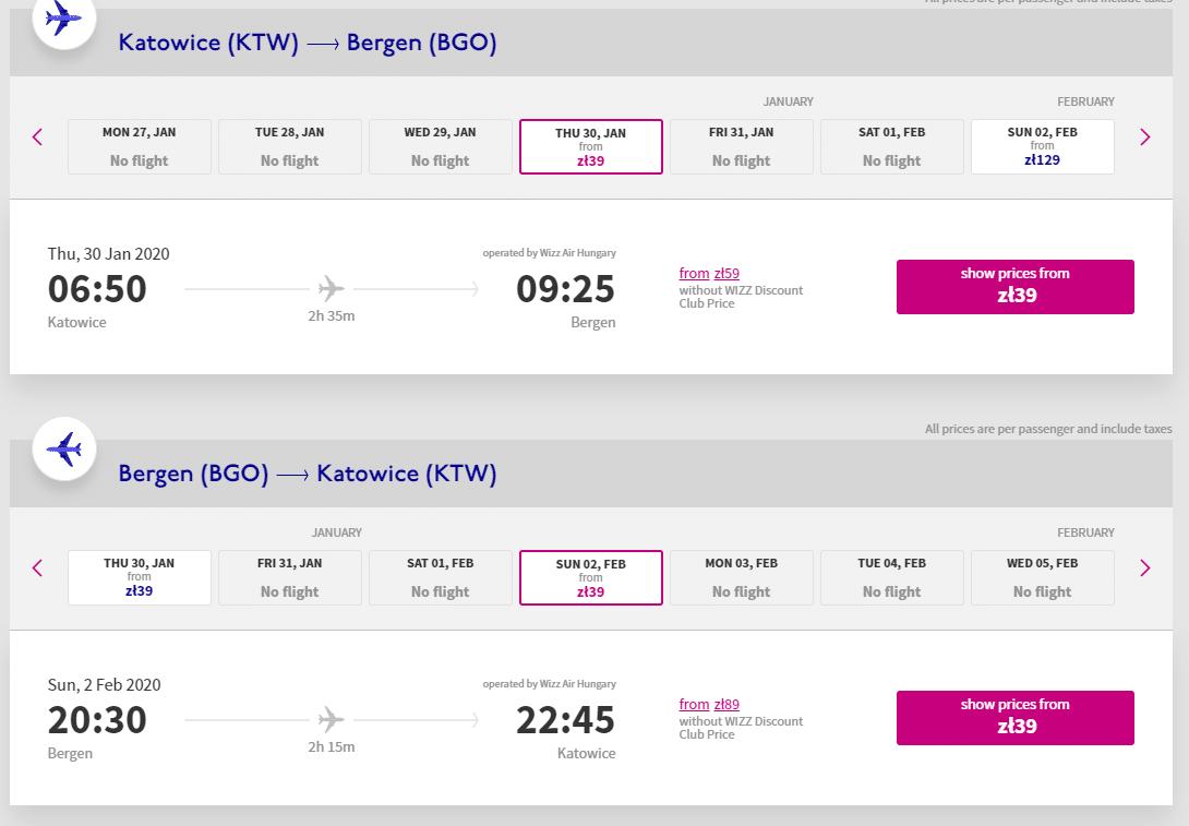 letenky z Katovíc do Bergenu