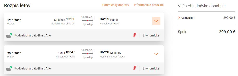 letenky z Mníchova do Hanoja