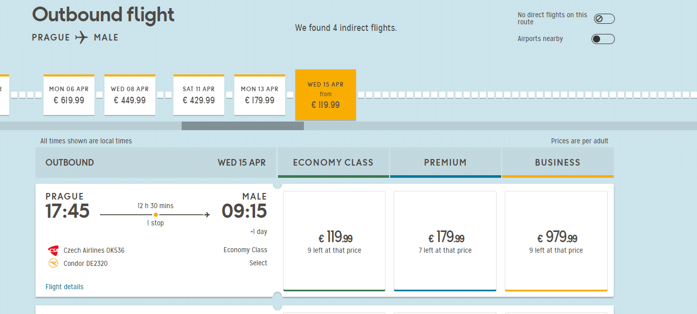 letenky z Prahy na Maldivy