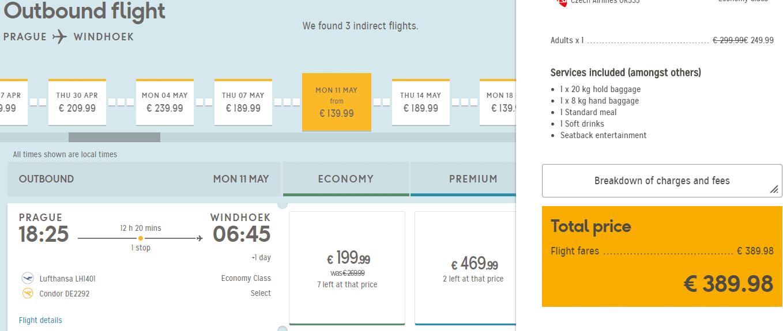 letenky z Prahy do Windhoeku