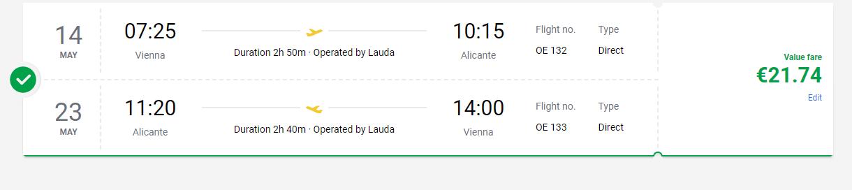 letenky z Viedne do Alicante