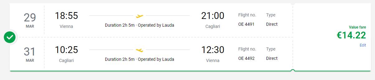 letenky z Viedne na Sardíniu