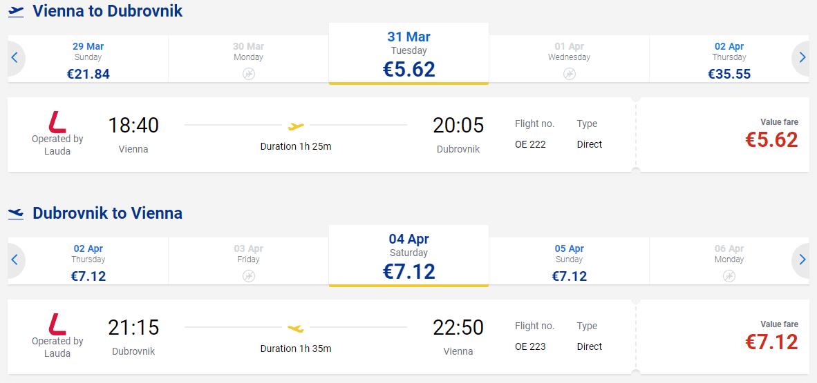 letenky z Viedne do Dubrovníka