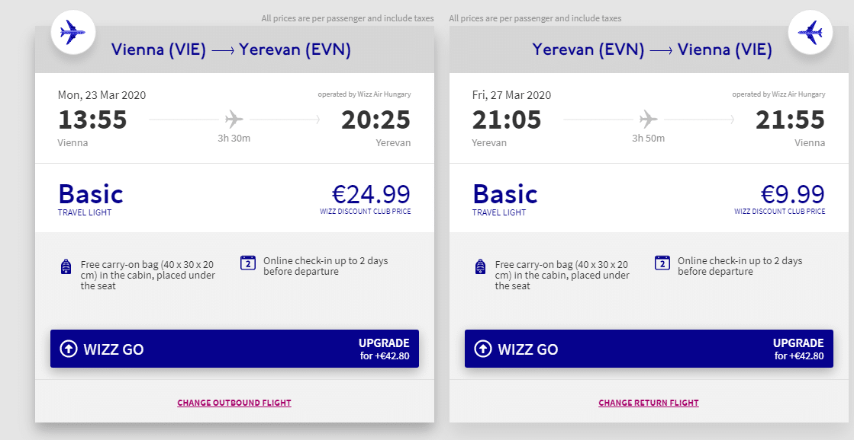 letenky z Viedne do Jerevanu