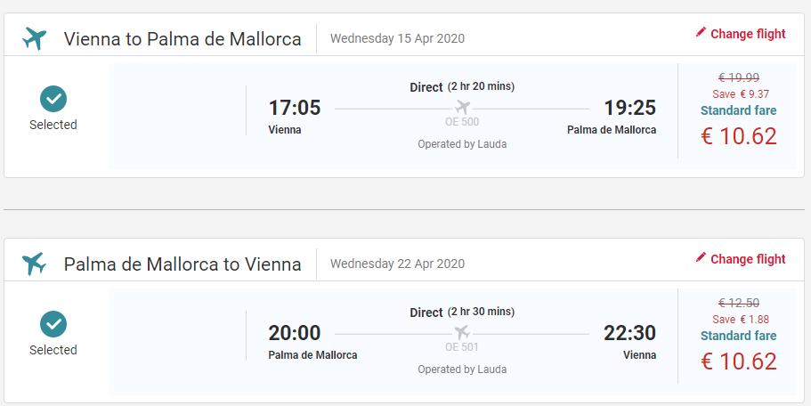 letenky z Viedne do Palma de Mallorca