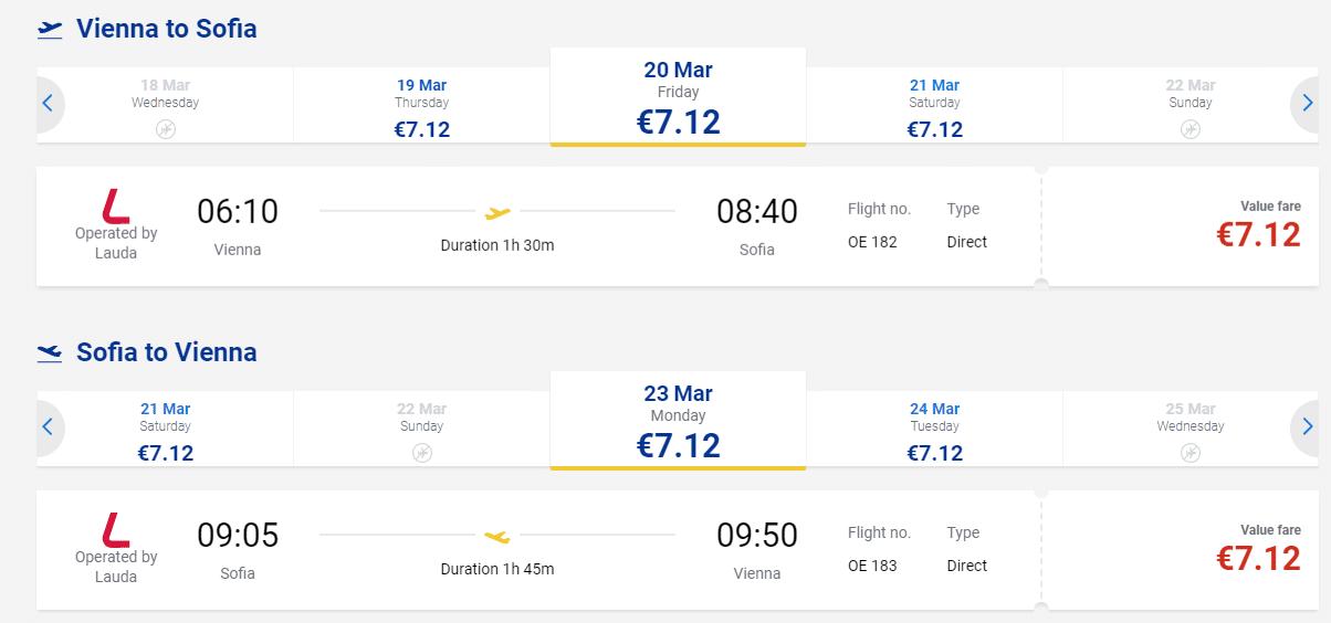 letenky z Viedne do Sofie