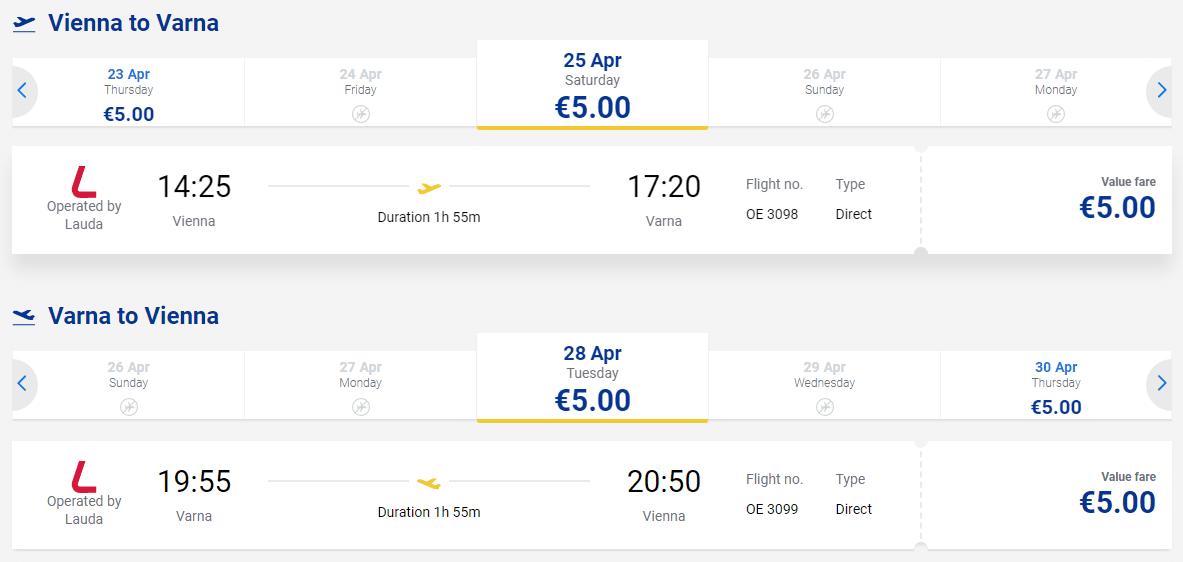 letenky z Viedne do Varny