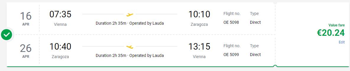 letenky z Viedne do Zaragozy