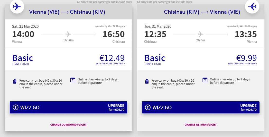 letenky z Viedne do Moldavska
