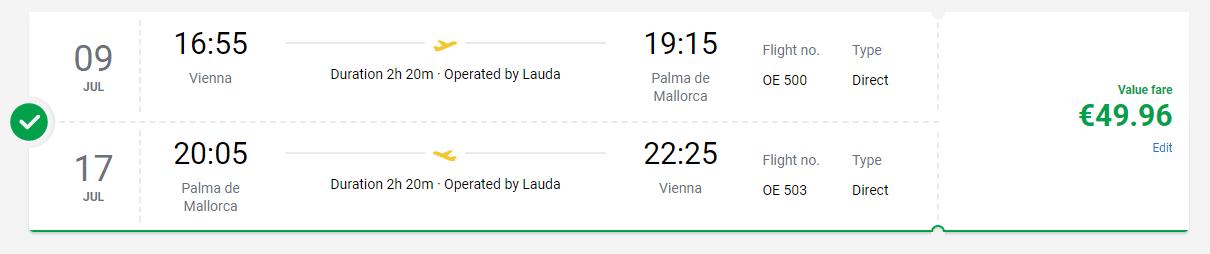 letenky z Viedne na Mallorcu