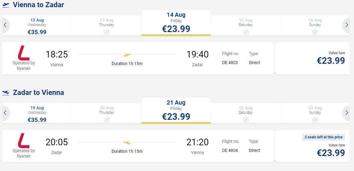 letenky z Viedne do Zadaru