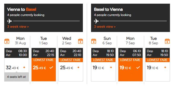 letenky z Viedne do Bazileju