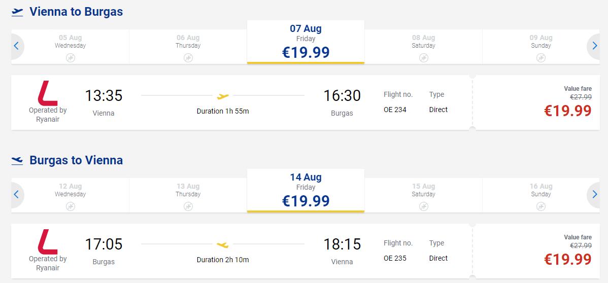 letenky z Viedne do Burgasu