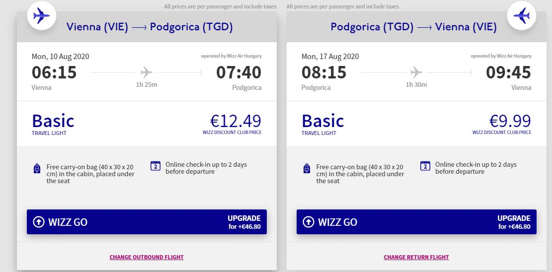 letenky z Viedne do Podgorice