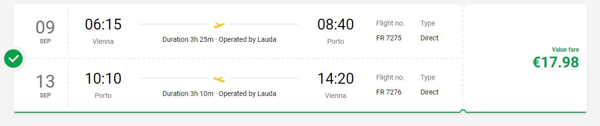letenky z Viedne do Porta