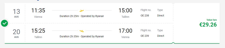 letenky z Viedne do Talinu