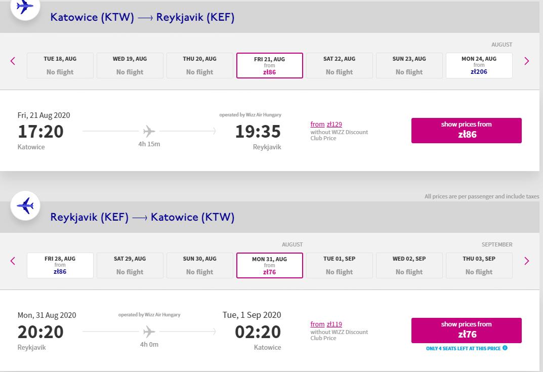 letenky z Katovíc do Reykjaviku