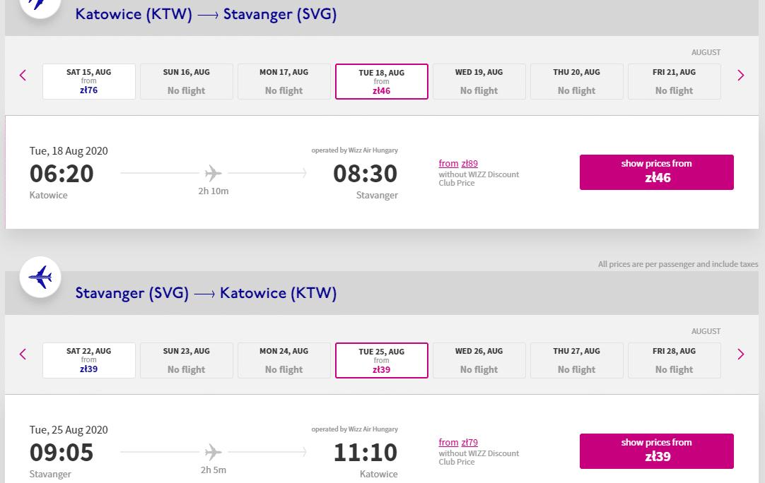 letenky z Katovíc do Stavangeru