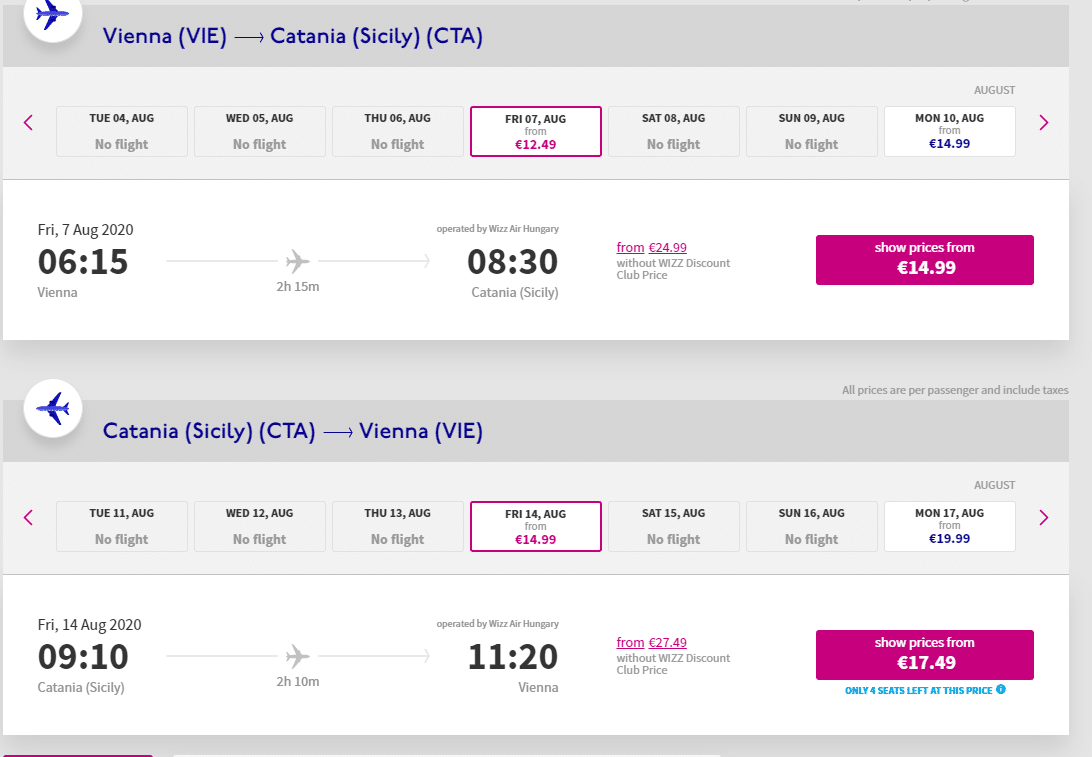 letenky z Viedne do Catanie