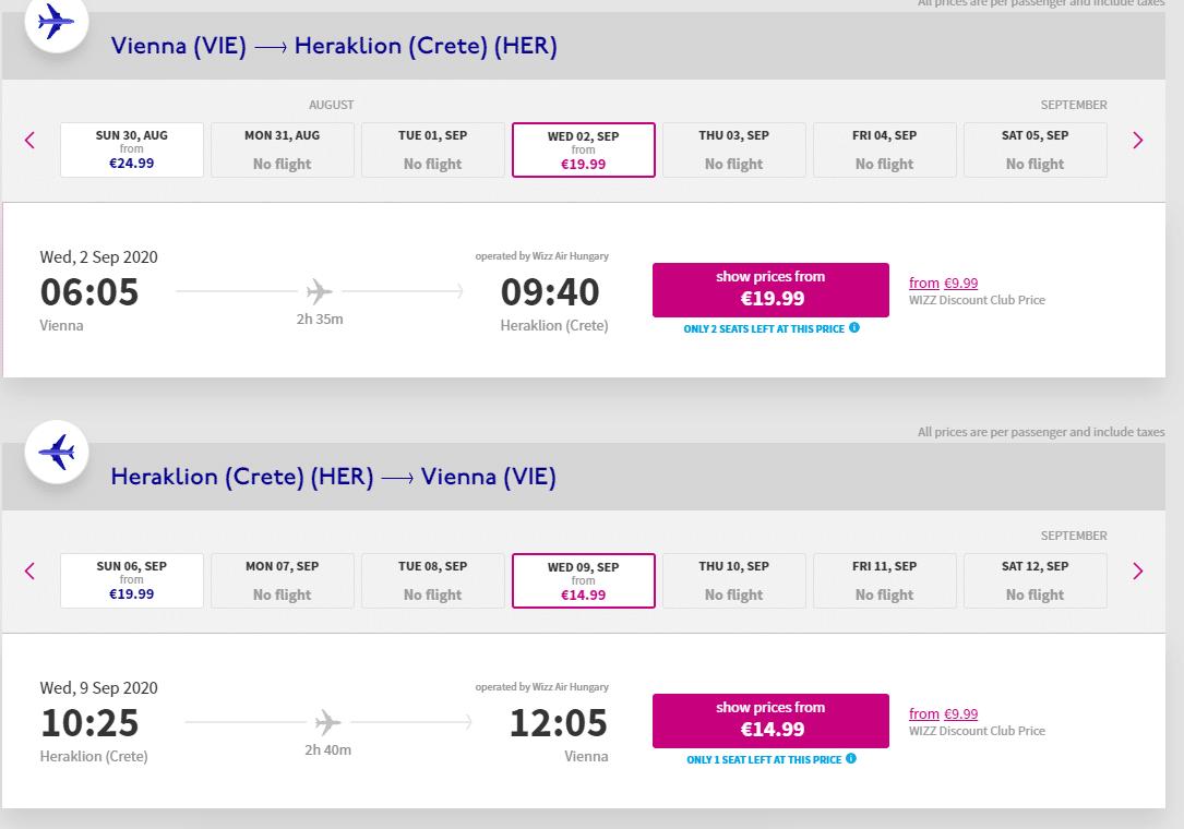 letenky z Viedne do Heraklionu