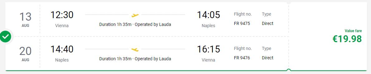 letenky z Viedne do Neapolu