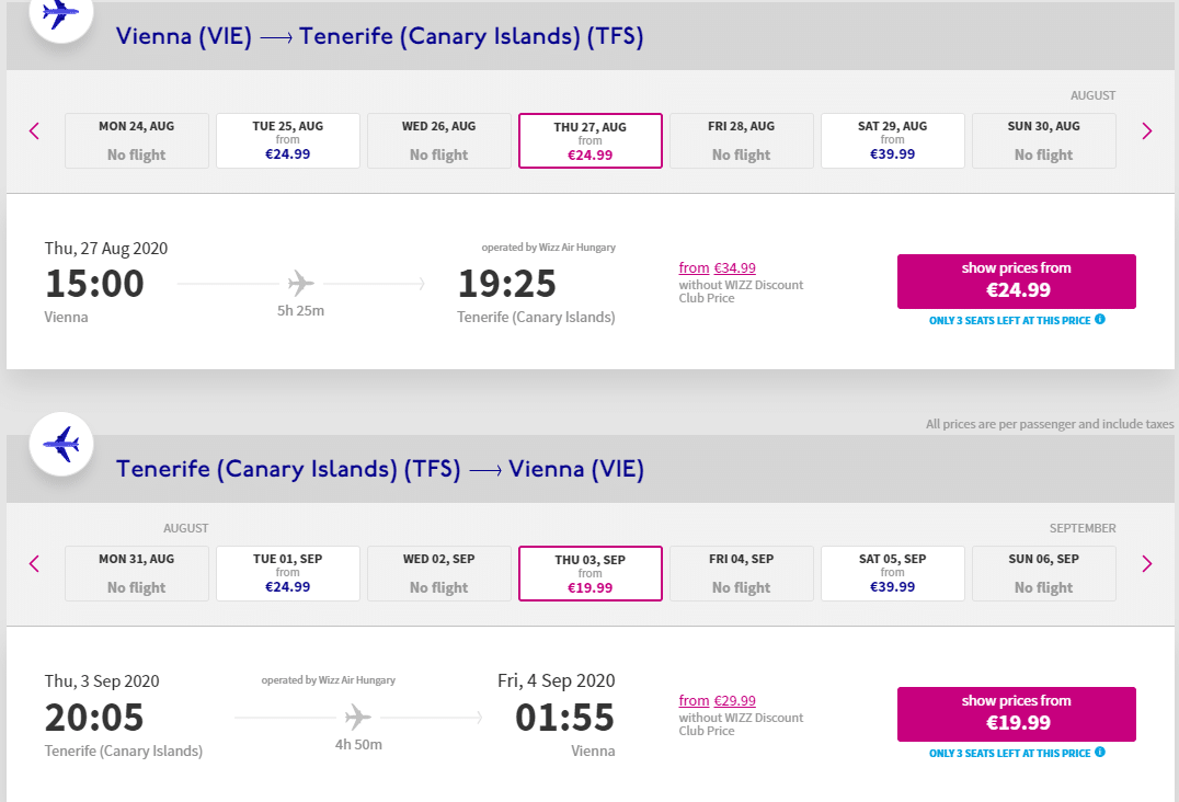 letenky z Viedne do Tenerife