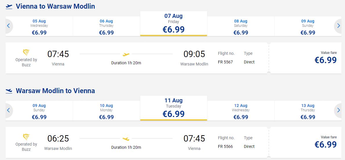 letenky z Viedne do Varšavy