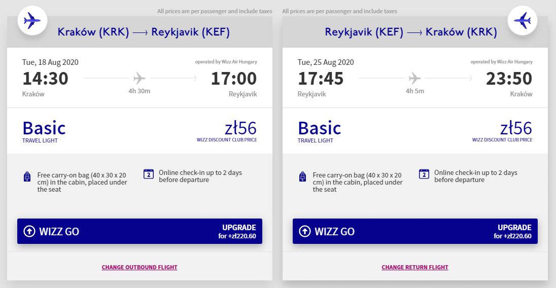 letenky z Krakova do Reykjaviku