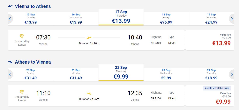 letenky z Viedne do Atén