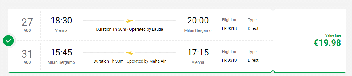 letenky z Viedne do Milána