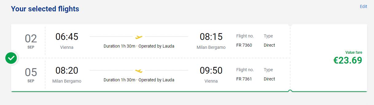 letenky na letisko Miláno/Bergamo