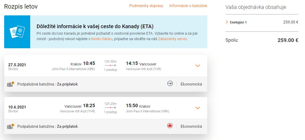 letenky z Krakova do Vancouveru