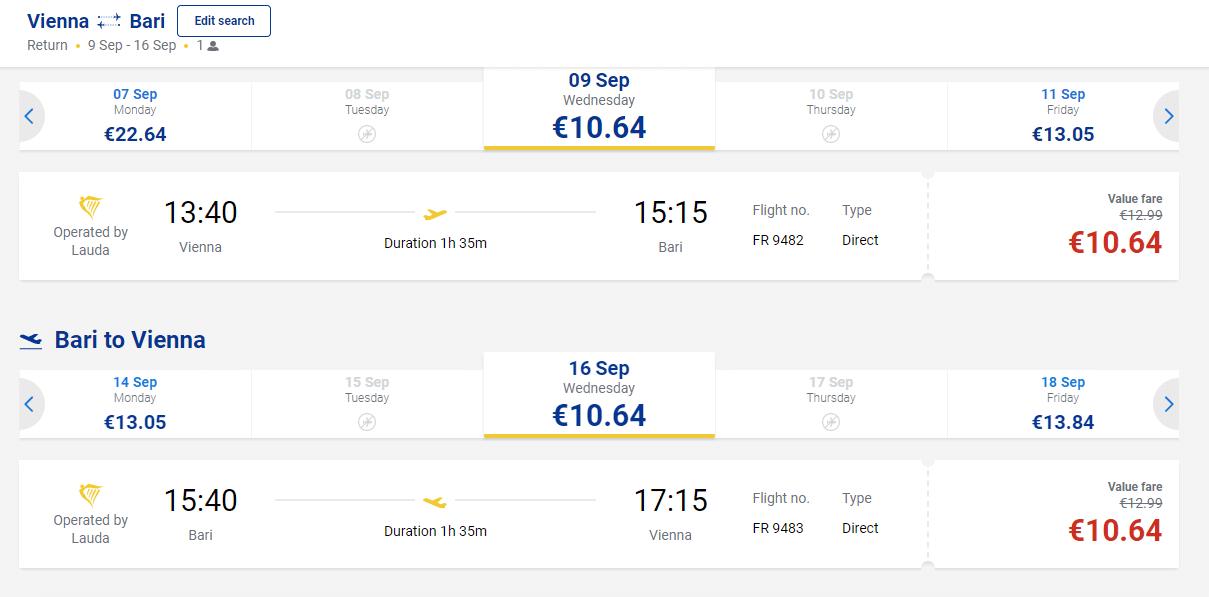 letenky z Viedne do Bari