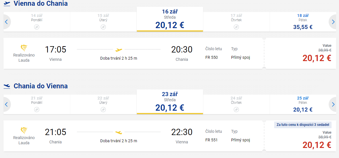 letenky z Viedne na Krétu
