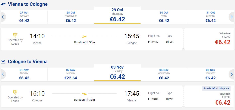 letenky z Viedne do Kolína nad Rýnom